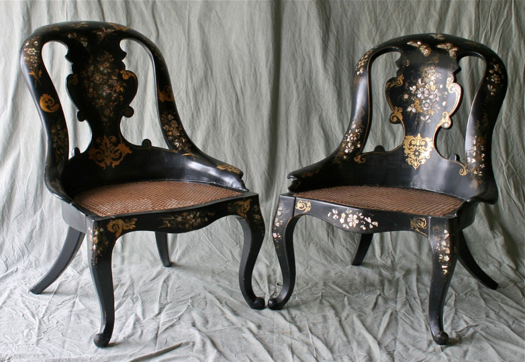 Pair Of Papier Mache Chairs At 1stdibs