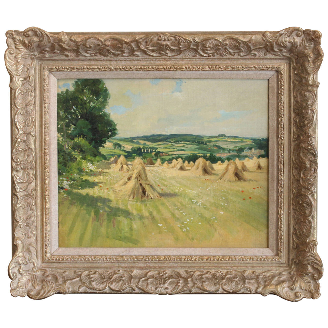 English Oil on Canvas Painting of Haystacks
