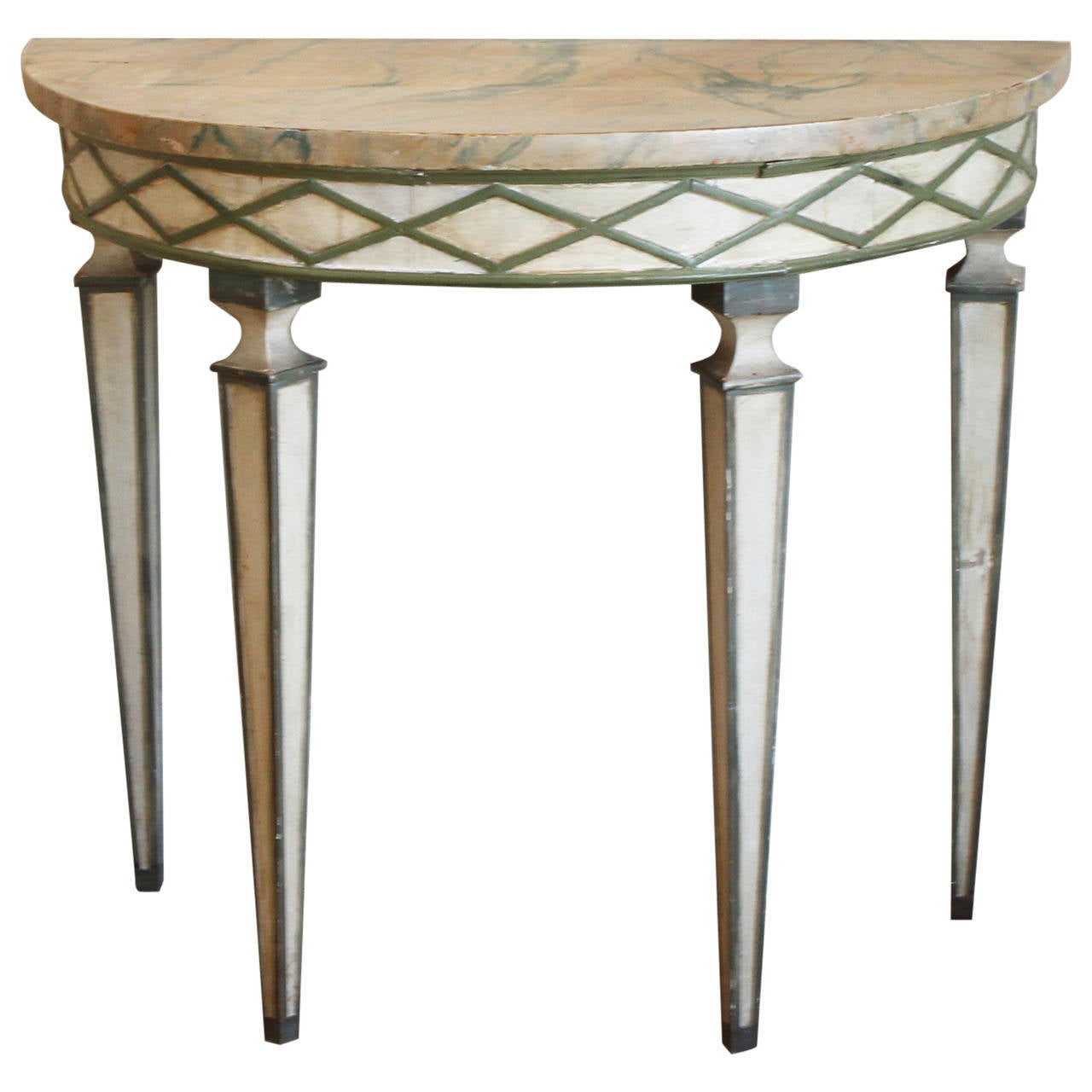 italian paint decorated demilune console table at 1stdibs. Black Bedroom Furniture Sets. Home Design Ideas