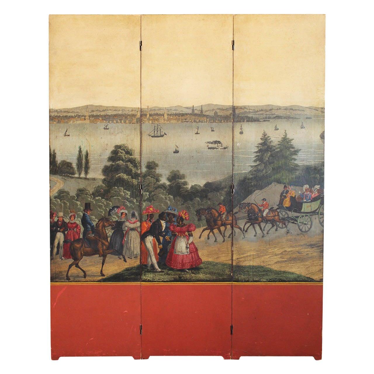 Zuber Wallpaper Three-Panel Folding Screen For Sale