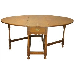 Very Large English Oak Drop Leaf Table