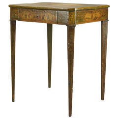 Late 18th C. French Paint Decorated Side Table with Drawer