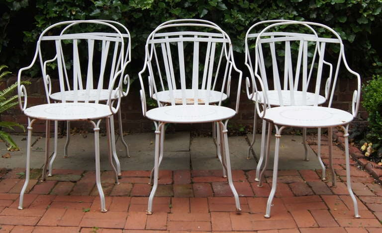 Set of six wrought iron outdoor dining chairs at 1stdibs for Wrought iron dining set outdoor