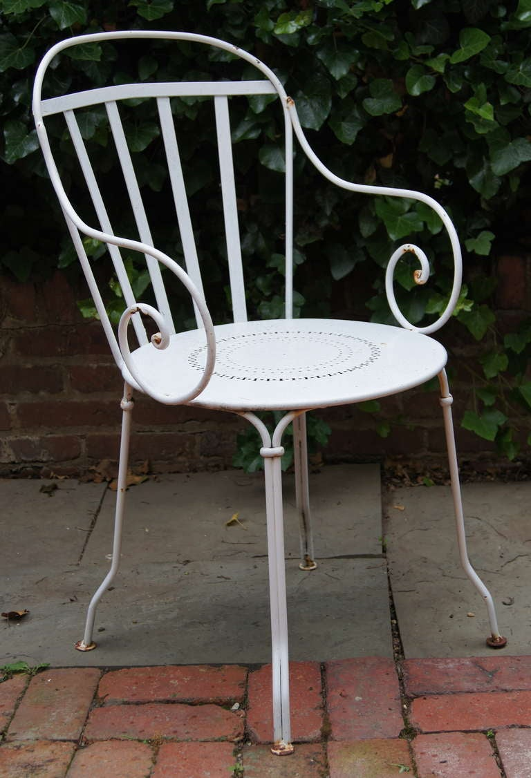 Set of Six Wrought Iron Outdoor Dining Chairs at 1stdibs