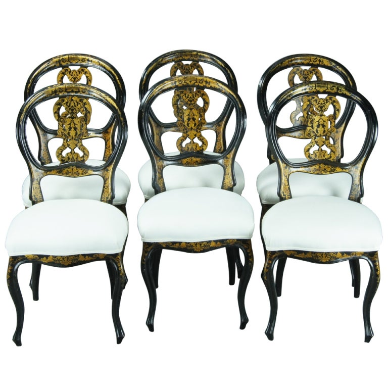 Set Of Six English Black Lacquer Dining Chairs 1