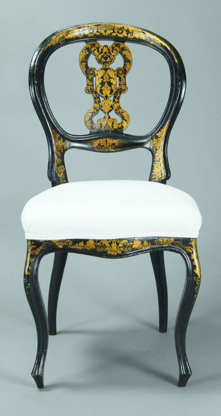 Set Of Six English Black Lacquer Dining Chairs For Sale At