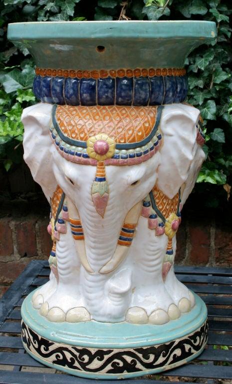 Ceramic Near Pair of Elephant Garden Seats For Sale