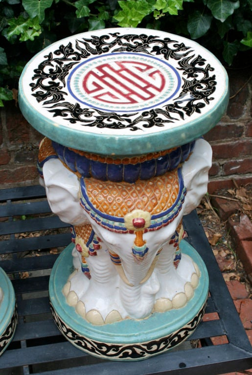 Near Pair of Elephant Garden Seats For Sale 1