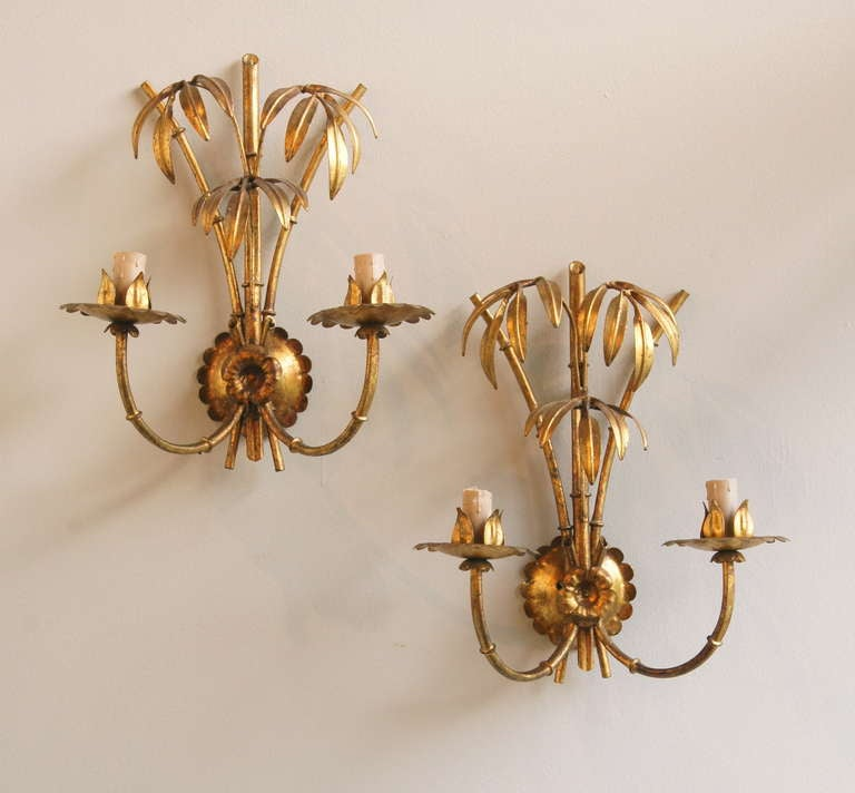 Faux Crystal Wall Sconces : Pair of Italian Gilt-metal Faux Bamboo Wall Sconces at 1stdibs