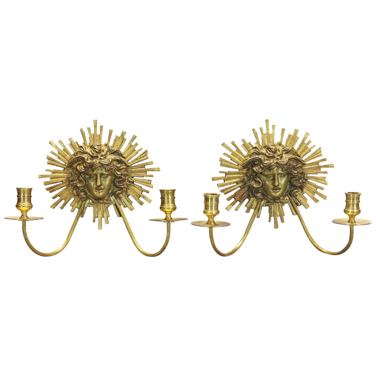 Pair of Neoclassical Gilt Bronze Candle Sconces For Sale