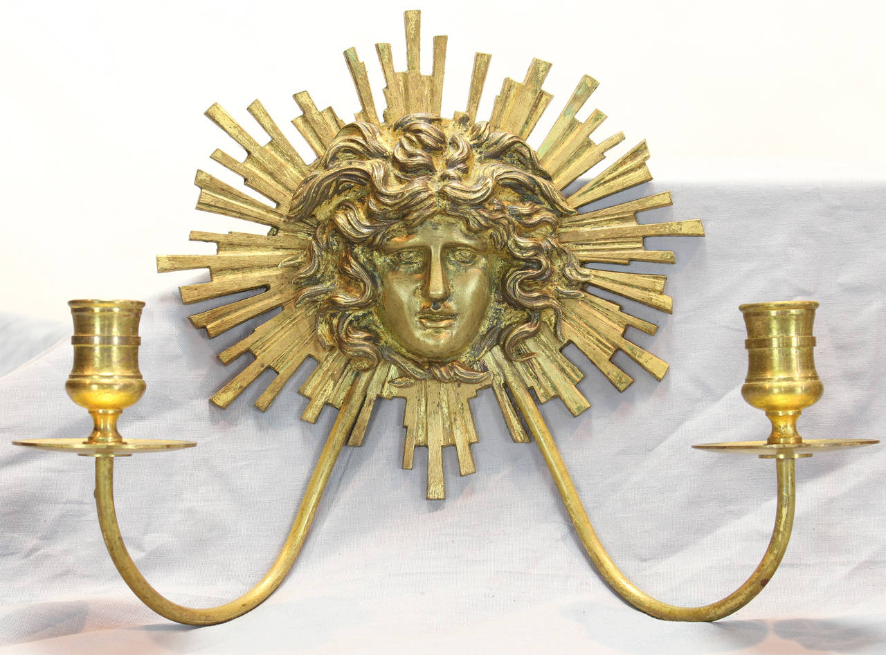 Pair of Neoclassical Gilt Bronze Candle Sconces In Excellent Condition For Sale In Kilmarnock, VA