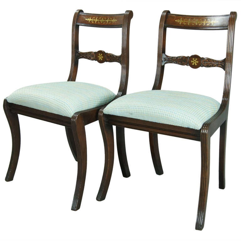 Pair Of Regency Style Side Chairs At 1stdibs