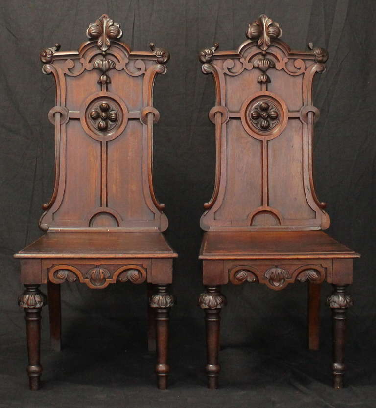 British Pair of English Gothic Revival Hall Chairs For Sale