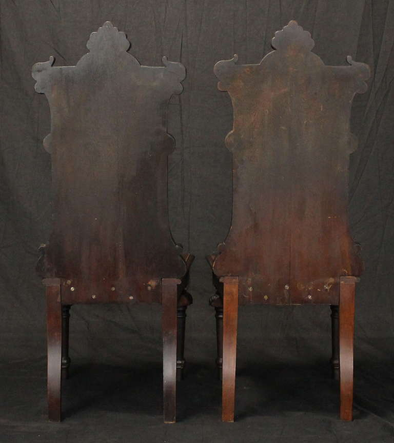 19th Century Pair of English Gothic Revival Hall Chairs For Sale