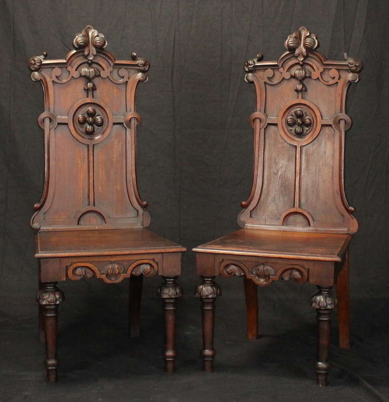 Wood Pair of English Gothic Revival Hall Chairs For Sale