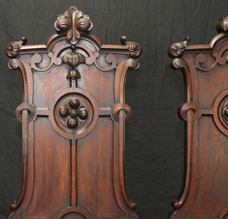 Pair of English Gothic Revival Hall Chairs For Sale 1