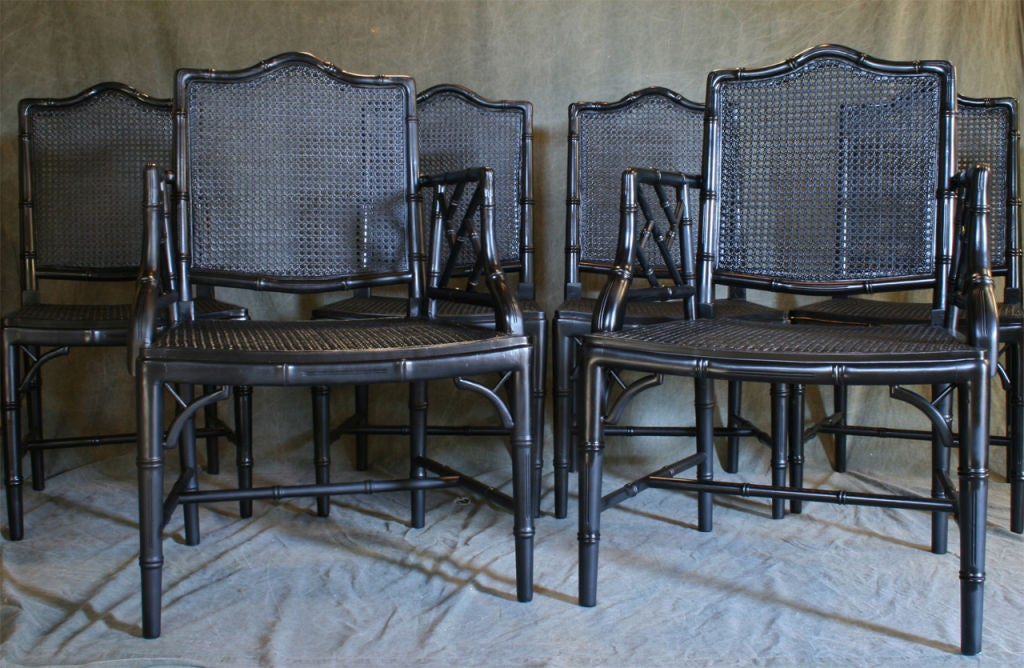 American Set of Six Faux Bamboo Dining Chairs For Sale