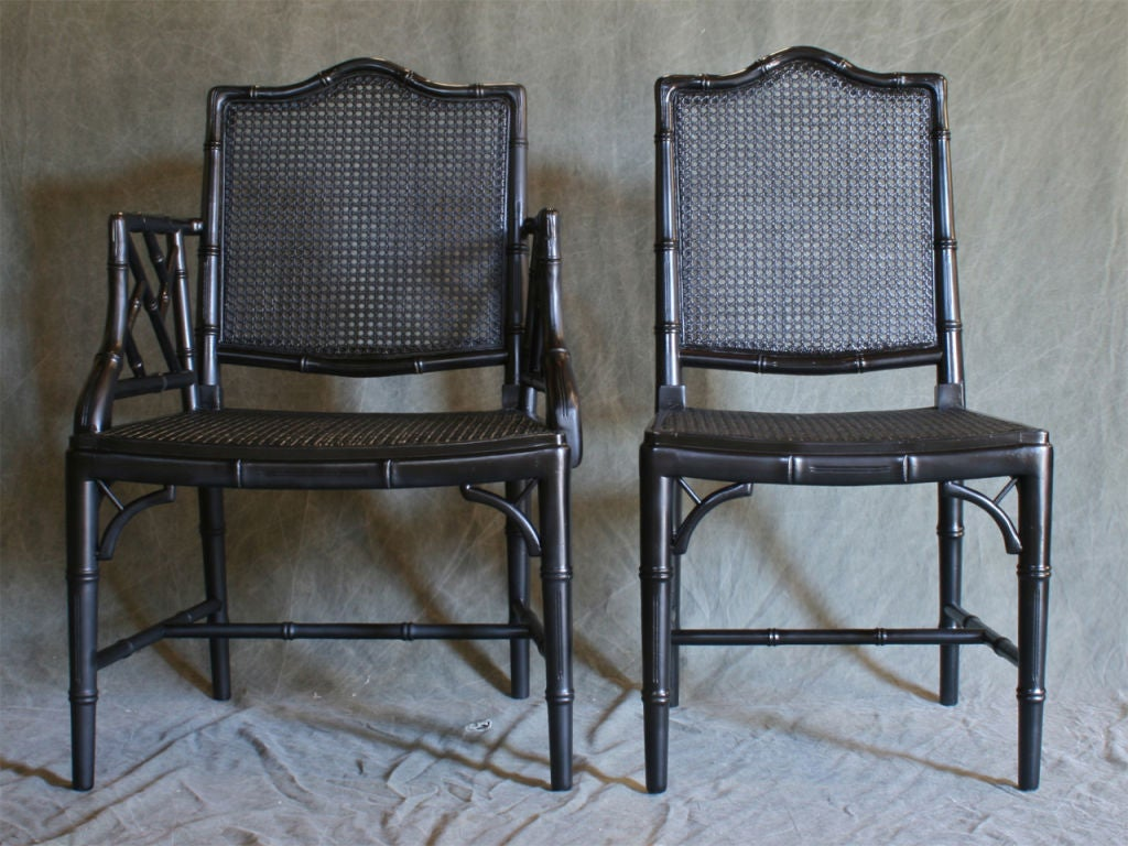 Carved Set of Six Faux Bamboo Dining Chairs For Sale