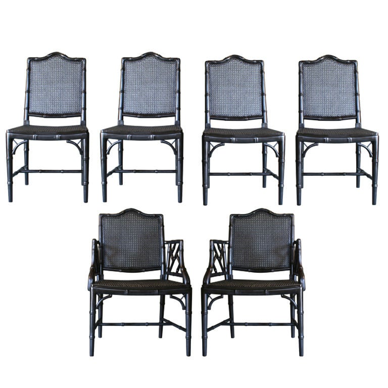 Set of Six Faux Bamboo Dining Chairs For Sale
