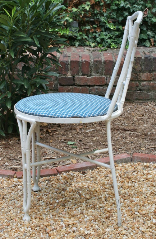 Metal Set of Four Faux Bamboo Garden Chairs For Sale