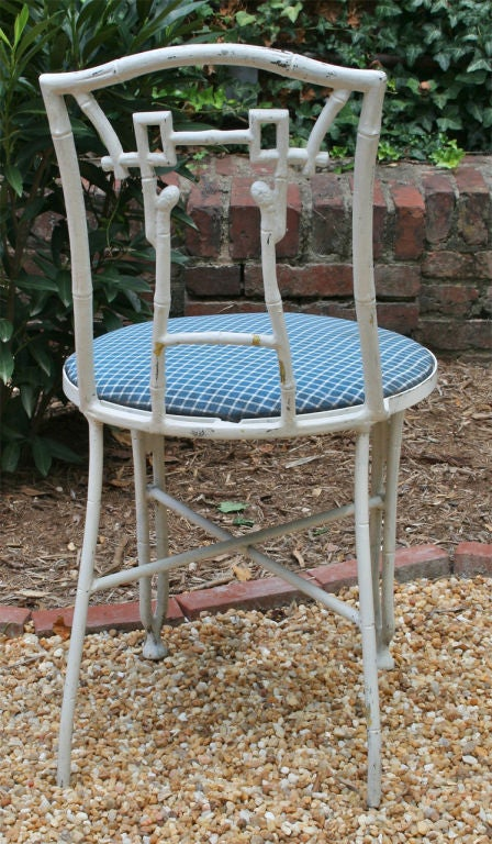Set of Four Faux Bamboo Garden Chairs For Sale 1