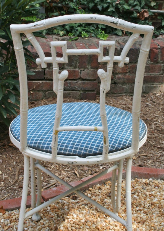 Set of Four Faux Bamboo Garden Chairs For Sale 2