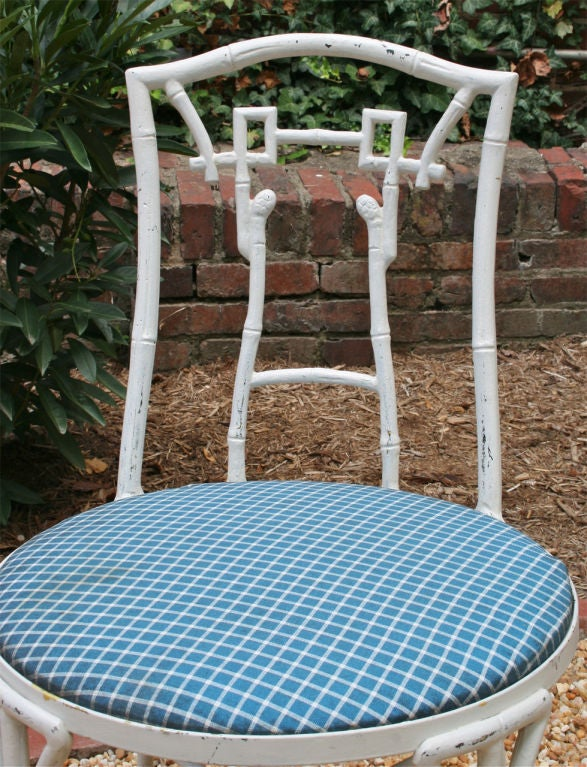 Set of Four Faux Bamboo Garden Chairs For Sale 3