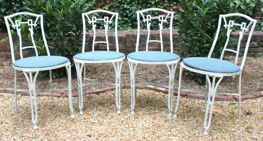Set of Four Faux Bamboo Garden Chairs For Sale 4