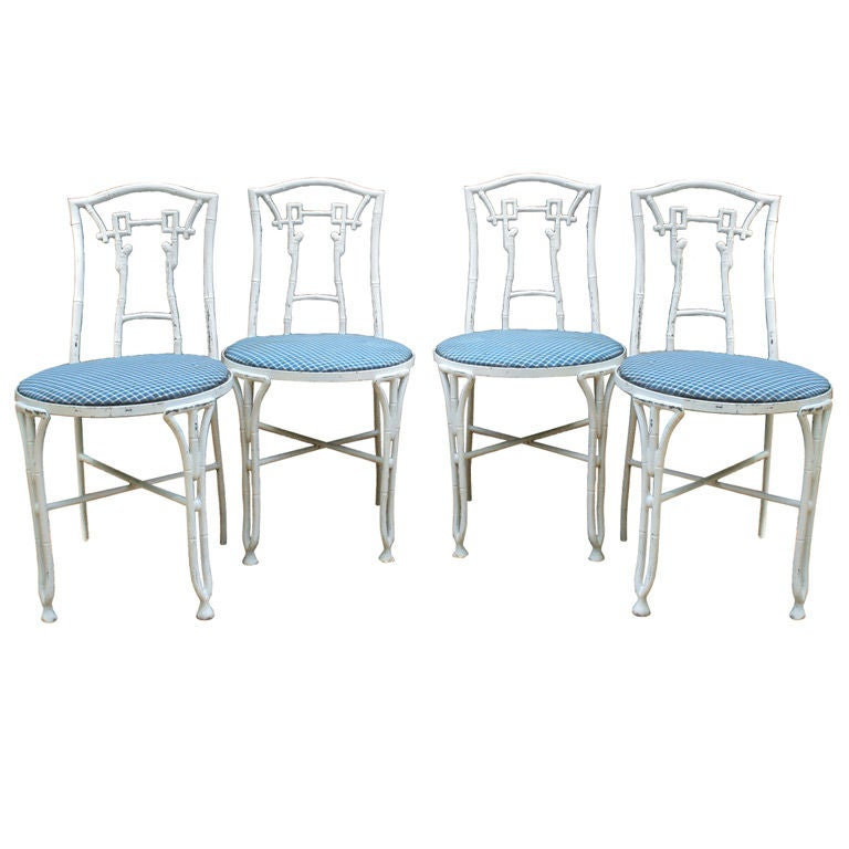 Set of Four Faux Bamboo Garden Chairs For Sale