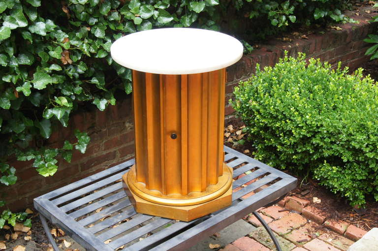 Wood Column Side Table with Storage Compartment For Sale
