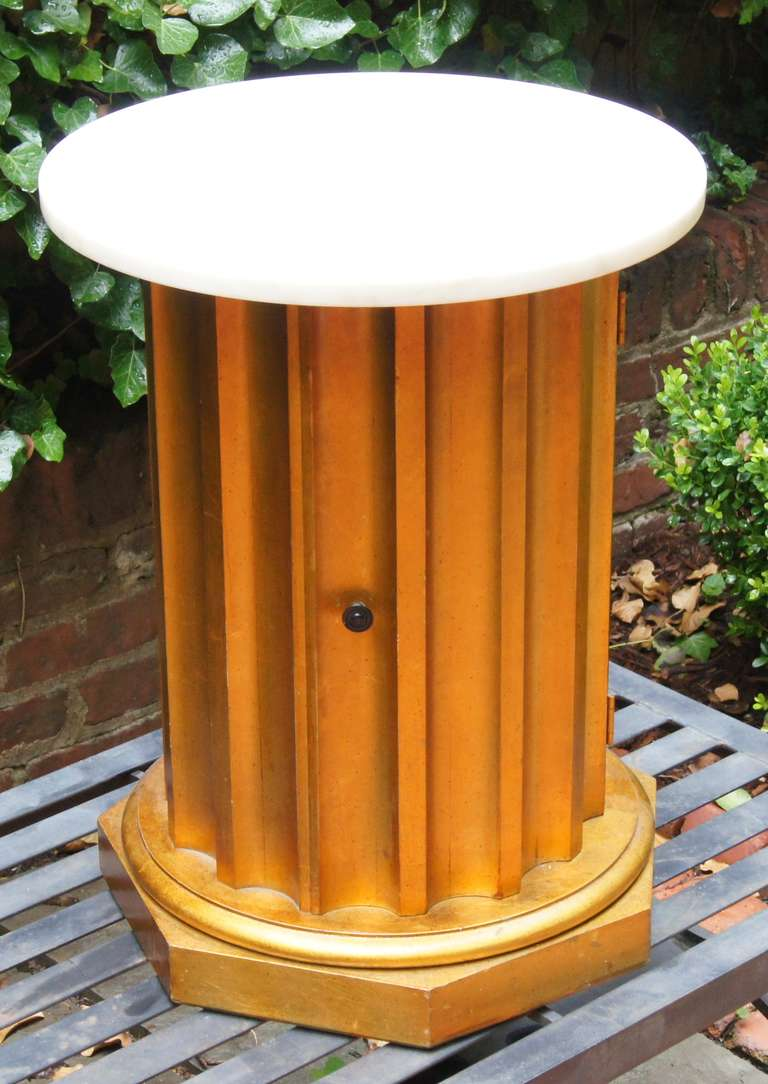 Column Side Table with Storage Compartment For Sale 1