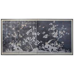 Large Antique Japanese Folding Screen Painting