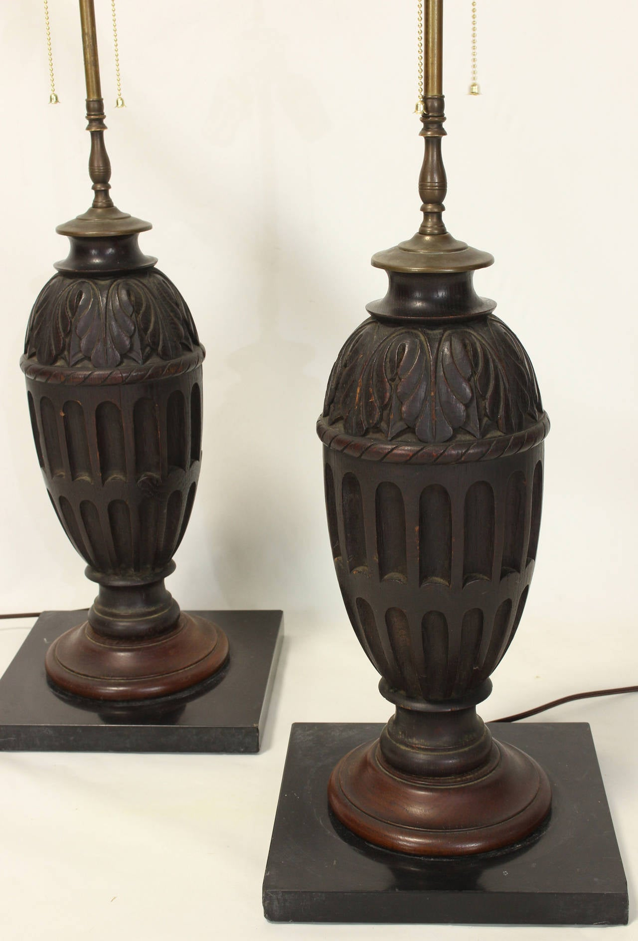 this pair of carved wood table lamps is no longer available. Black Bedroom Furniture Sets. Home Design Ideas