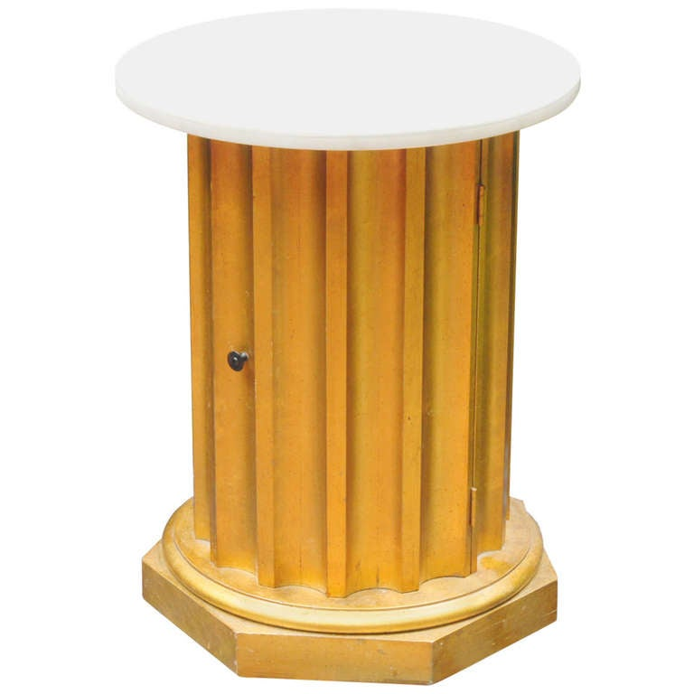Column Side Table with Storage Compartment