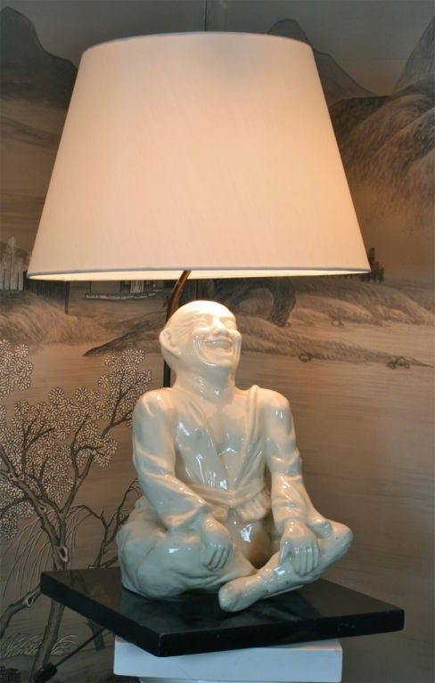 Laughing Chinese Character Lamp At 1stdibs