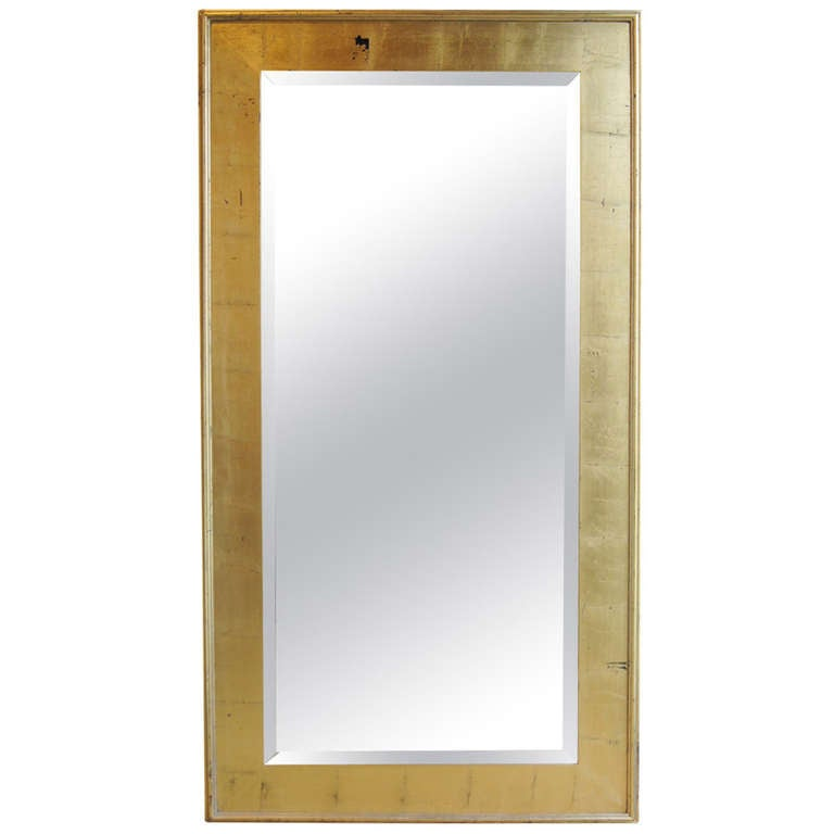 Large contemporary bevelled mirror in gold leafed frame at for Gold frame floor mirror