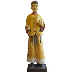 Life-Sized Carved Wood and Paint Decorated Figure of a Chinese Man