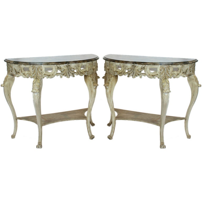 A Pair Of Painted Wood Consoles For Sale At 1stdibs