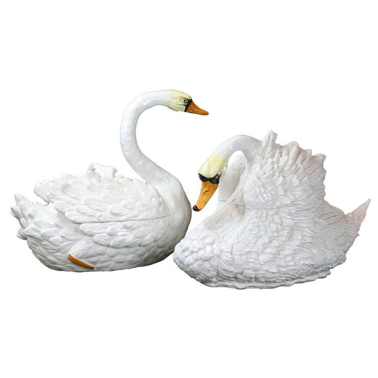 Pair Of Italian Glazed Ceramic Swan Tureens At 1stdibs