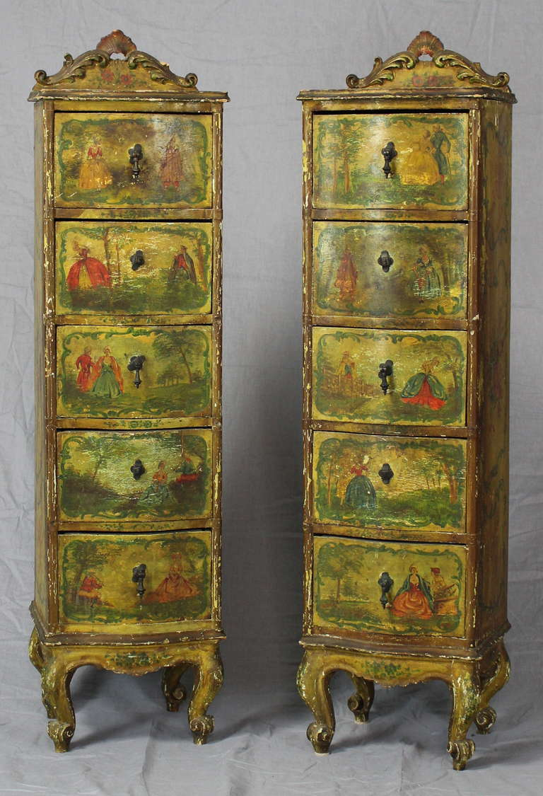 An Elegant Pair Of Late 19th Century Venetian Lingerie Cabinets Hand  Painted With Romantic Scenes Of