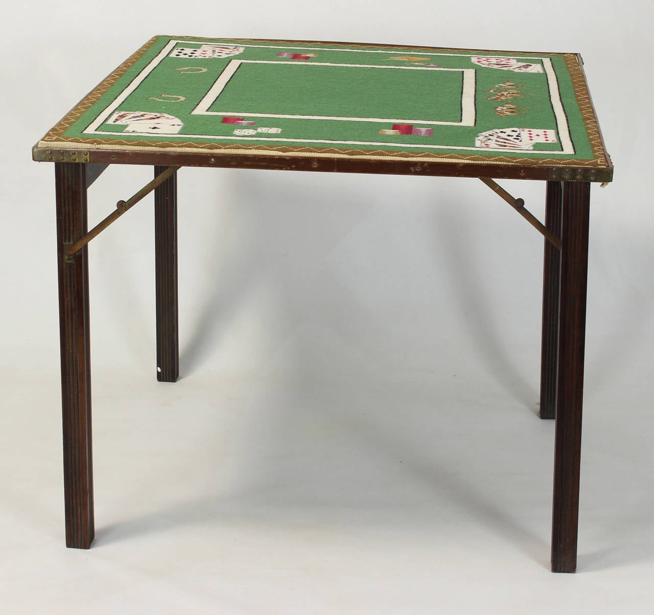 A Fantastic Handmade Wool Needlepoint Card Table Dating From The 1940u0027s  Depicting Playing Cards, Racehorses