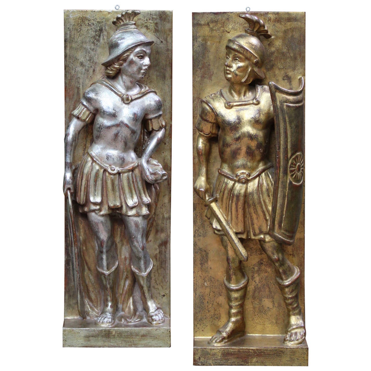 Pair of Italian Carved Wood Gladiator Plaques