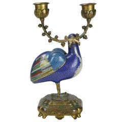Cloisonne Quail Incense Burner with Ormolu Mounts