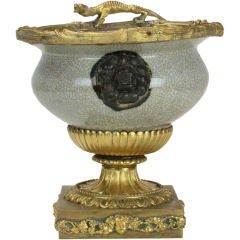 Chinese Crackle Glazed Bowl with French Ormolu Mounts