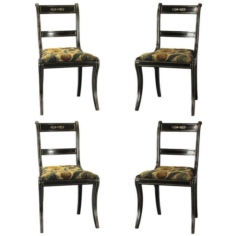 Set of four regency dining chairs with brass inlay at 1stdibs for Regency furniture living room sets