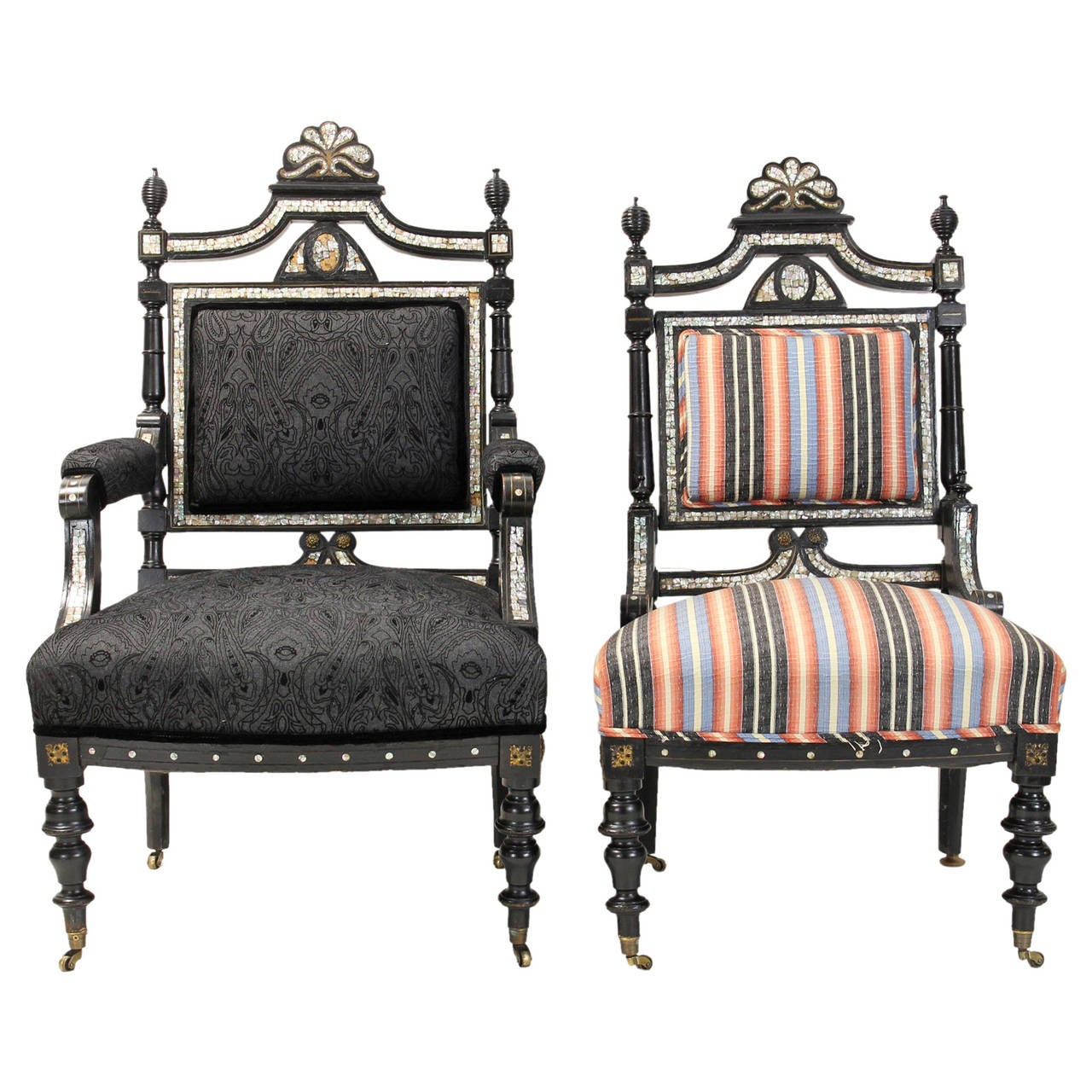 Pair of english high victorian chairs at 1stdibs for Pair of chairs for living room