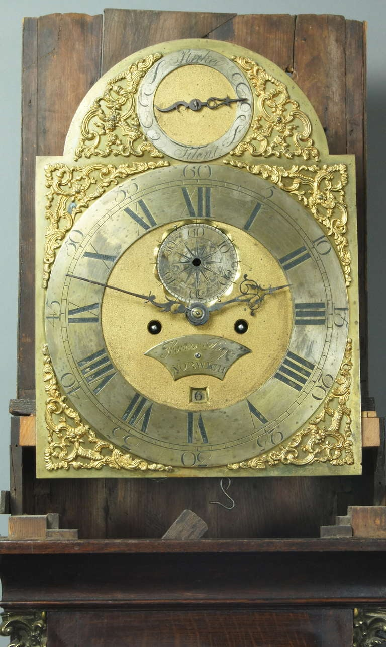 Early English Oak Chippendale Style Tall Case Clock At 1stdibs