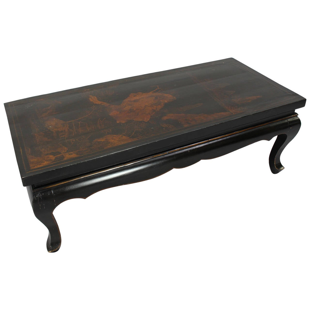 Chinoiserie black lacquer cocktail table at 1stdibs Black coffee table