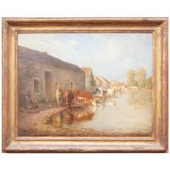 French Pastoral Oil Painting