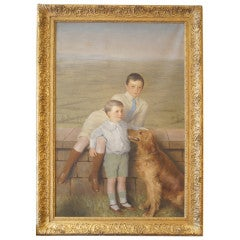 8' Tall Portrait of Two Boys and Their Dog